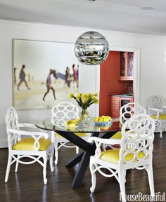 Breakfast Room Transitional by Lindsey Coral Harper Interior Design Beautiful Dining Rooms, Beautiful Homes, House Beautiful, Dining Room Design, Dining Room Furniture, Yellow Dining Chairs, Dining Table, Round Dining, Kitchen Chairs