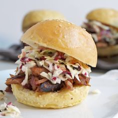 Pulled pork sliders - dainty southern comfort food (BBQ is one of our favorite date night eats!)