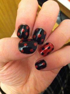 Black and red polka dot nail art
