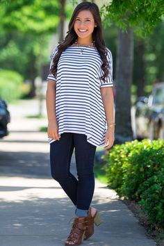 The Perfect Piko Short Sleeve Tiny Stripe Top-White/Navy