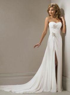 Sexy Wedding Dress Sheath/Column Simple Beaded Sweep Train