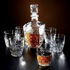 Whisky Set of 7 PC Crystal Glasses With Decanter Beverage Luxury Tumblers Liquer for sale online Whiskey Decanter, Whiskey Glasses, Carafe, Tabletop, Whiskey Gifts, Scotch Whiskey, Crystal Decanter, Wine And Liquor, Fancy