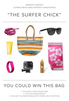 Enter the Marriott Resorts Ultimate Beach Bag Pinterest #Sweepstakes for your chance to win the Surfer Chick beach bag prize package or a trip to paradise!