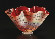 Golden Gem Fluted Bowl by Cristy Aloysi and Scott Graham: Art Glass Vessel available at www.artfulhome.com