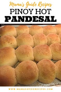 This Pinoy Hot Pandesal Recipe is simple, easy and delicious. Just like the Pandesal sold in panaderya in your neighborhood. Pinoy Dessert, Filipino Desserts, Filipino Recipes, Filipino Food, Filipino Dishes, Pinoy Food, Sweet Dinner Rolls, Homemade Dinner Rolls, Philipinische Desserts