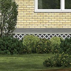 Camouflage Concrete with wooden latticework: hide bare foundation  EXTERIOR CURB APPEAL HIDE FOUNDATION