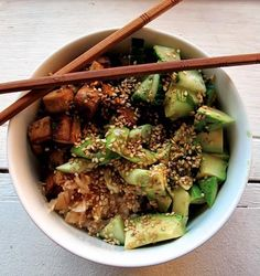 In Kitchen Healthy Sushi Bowls (easy and tasty! even my Honey liked it even though it's tofu :) marinating ahead of time helps the flavor, I think)