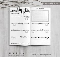 Printable Arrows Midori Weekly Planner Inserts, Fauxdori Bullet Journa – Happy Digital Download