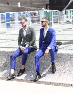 Assertive color choices, like cobalt blue, were seen at Pitti Uomo. (Photo: Lee Oliveira for The New York Times)