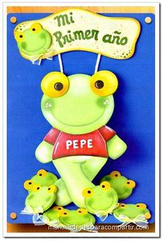 Sapo Pepe de goma eva. Sapo Pepe de fibro fácil paso a paso. Manualidades Sapo Pepe Cartel Goma Eva.