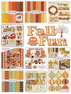 DIGITAL SCRAPBOOK KITS #Clipart #Fall #Autumn #Halloween #Thanksgiving #Pumpkin Patch