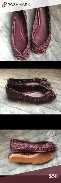Frye Malorie woven peep toe flats 7.5 women's, lovely purple color, brand new condition, never worn! Frye Shoes Flats & Loafers