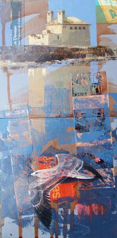 Urbana Rustica XII – Tabarca- Alicante Collage + Acrilico, Diptico vertical 2 pzs. 24 X 24 cm.  2012. Finalista Parte Superior del Díptico VII Certamen nacional Mini Cuadros Muz-Martínez 2012.
