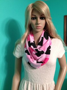 Dark pink, light pink, and black falling hearts infinity scarf in jersey knit, by Beckysscarfshop, $15.00