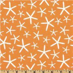 orange starfish fabric; crib skirt