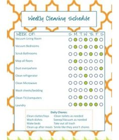 I think this is the cleaning chart I will be making for our home... customized of course!