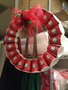 Starbucks Wreath I Need To Do This For My Office Door