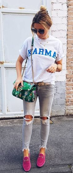 #summer #outfits White Printed Tee + Grey Ripped Skinny Jeans + Pink Loafers