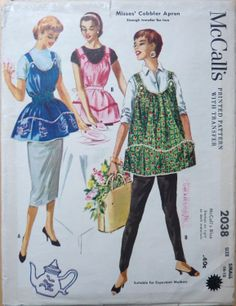 Vintage McCalls 2038 Misses Cobbler Apron or Maternity Apron Sewing Pattern Size Large Bust Sewing Aprons, Mccalls Sewing Patterns, Vintage Sewing Patterns, Dress Patterns, Apron Patterns, Vintage Apron Pattern, Motif Vintage, Aprons Vintage, Retro Apron