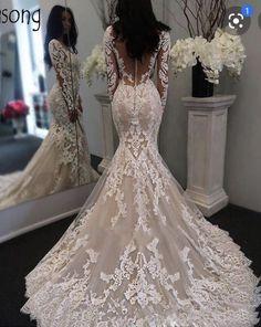 Lace Mermaid Wedding Dress, Wedding Dress Sleeves, Long Wedding Dresses, Long Sleeve Wedding, Tulle Wedding, Mermaid Dresses, Bridal Dresses, Wedding Gowns, Bridesmaid Dresses