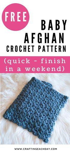 Crochet Baby Blanket Free Pattern, Quick Crochet Blanket, Easy Crochet, Baby Afghan Crochet Patterns, Baby Patterns, Baby Afghans, Baby Blankets, Modern Crochet Blanket, Crochet For Boys