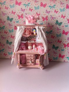 Dolls House Nursery Dresser in Pink by HELENSOOAKMINIATURES
