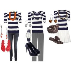 Three different looks with one common element, the top.