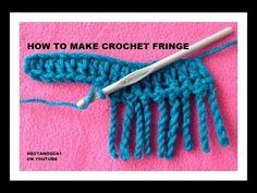 How to make easy crochet fringe trims and embellishments crochet borders crochet elephant edging free crochet pattern video Crochet Border Patterns, Crochet Boarders, Crochet Blanket Edging, Crochet Hook Set, Diy Crochet, Crochet Crafts, Crochet Stitches, Knitting Patterns, Ravelry Crochet