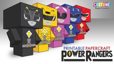 It's mophin' time! Get your own Power Ranger with Costume SuperCenter's free printable templates of these Power Ranger block figures! Power Ranger Party, Power Ranger Birthday, 4 Year Old Boy Birthday, Birthday Fun, Valentine Day Boxes, Valentines For Kids, Power Rangers Ninja, Power Rangers Megaforce, Summer Crafts For Kids