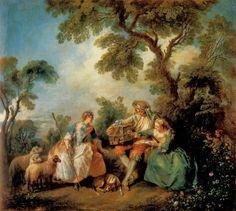 LANCRET - La cage à oiseaux - 1735 - Munich (cage à oiseaux, allusion sexuelle)