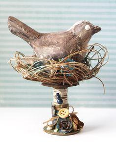 Altered Bird Nest w/ Bird :: by Drew Scott of Scrapyhappiness.com for The Scrap Kitchen Blog Hop