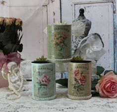 "~ A set of 3 Vintage Shabby Chic Painted Decoupage Tin Cans ""Le Jardinier"" ~ #Handmade #FrenchCountryCottageShabbyChic"