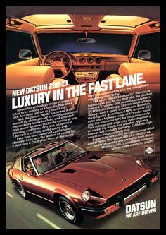 Visit our website for a historical overview of the legendary Nissan/Datsun Series 2 doors sports cars (Nissan Fairlady Z). Datsun for sale, we have listed a large inventory of Zs in different colors and options. Datsun 280z, Nissan Z Cars, Nissan 300zx, Car Brochure, Car Advertising, Japanese Cars, Japanese Travel, Retro Cars, Luxury Cars