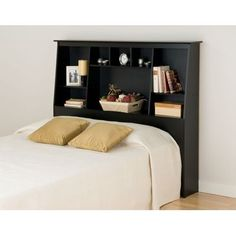 Prepac Sonoma Black Tall Bookcase Headboard