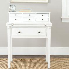 Safavieh Abigail Desk | Wayfair - available finishes are black, white, cherry, oak.  Narrow.