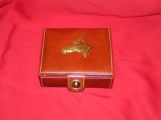 VINTAGE, LEATHER HAND CRAFTED JEWELRY BOX WITH BRASS HORSE HEAD