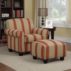 Portfolio Mira 8-way Hand-tied Crimson Red Stripe Arm Chair and Ottoman