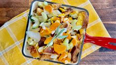 Thanksgiving stuffing with apples, focaccia-style bread and gruyere cheese
