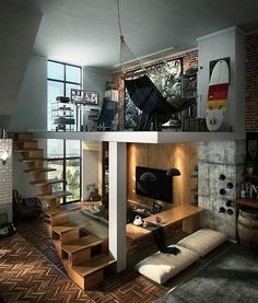 wow! the brick, floating stairs, herringbone patterned wood floors & concrete..love this loft!