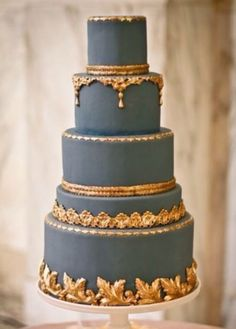 16 Gold Wedding Cake Designs For Modern And Glamorous Events Gorgeous Cakes, Pretty Cakes, Amazing Cakes, Gold Cake, Teal Cake, Blue Cakes, Wedding Cake Inspiration, Wedding Ideas, Wedding Decor