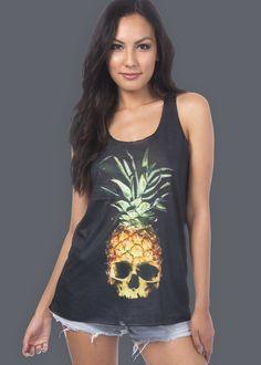 Pretty Attitude Womens Black Pineapple Skull Loose Fit Muscle Tee Tank Top : Tops