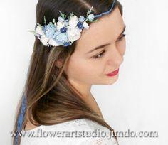 White and Blue Bridal Hair Wreath Blue Wedding by Flowerartstudio