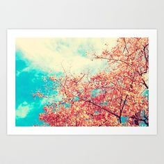 Deep Beauty (Fall pink tree leafs on retro blue sky) Art Print by Andreka - $20.80