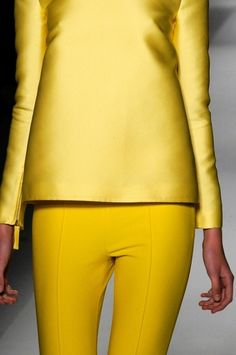 #runway #yellow #brights #skinnyleg #trousers #longsleeves #shelltop #blouse #fashion #style #couture