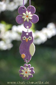 Deko-Objekte - Hänge-Eule aus Keramik - ein Designerstück von Chat-Chouette bei DaWanda