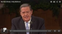 """Be Not Afraid, Only Believe,"" Elder Jeffrey R. Holland's address to CES teachers in the Tabernacle 2015. Awesome talk!"