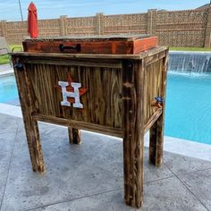 All weather 48-QT Rustic Cedar Chest Cooler Stand with Brass | Etsy Wood Cooler, Cooler Cart, Patio Cooler, Cooler Stand, Outdoor Cooler, Ice Chest Cooler, Diy Outdoor Bar, Outdoor Parties, Reclaimed Wood Bars