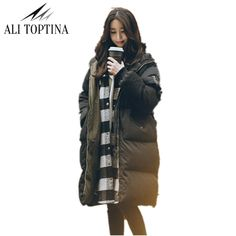 ALI TOPTINA Parka Women Coat Long 17 Winter Coat Women Jacket Thick Warm Snow Wear Thickening Cotton Loose Coat Woman MF38