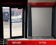 Which door looks more secure? Improve your store security with our roll shutters and security screens! Garage Door Security, Security Screen, Extreme Makeover, Store Fronts, Shutters, Screens, Improve Yourself, Garage Doors, Home Appliances