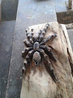 Deko-Objekte - Spinne, Holzspinne, Holzskulptur - ein Designerstück von OriginalRuhm bei DaWanda